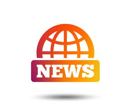 News sign icon. World globe symbol. Blurred gradient design element. Vivid graphic flat icon. Vector
