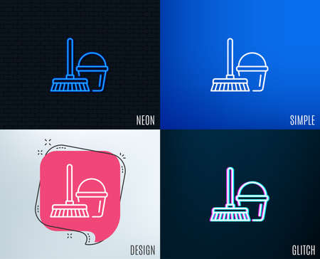 Glitch, Neon effect. Cleaning bucket with mop line icon. Washing Housekeeping equipment sign. Trendy flat geometric designs. Vector Stock Illustratie