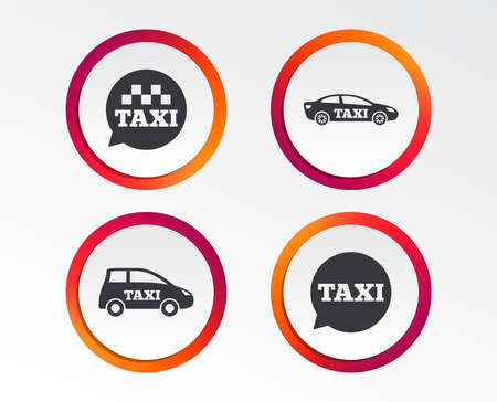 Public transport icons. Taxi speech bubble signs. Car transport symbol. Infographic design buttons. Circle templates. Vector