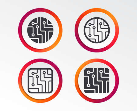 Circuit board icons. Technology scheme circles and squares sign symbols. Infographic design buttons. Circle templates. Vector