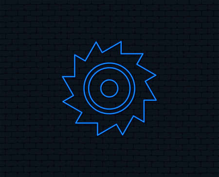 Neon light. Saw circular wheel sign icon. Cutting blade symbol. Glowing graphic design. Brick wall. Vector  イラスト・ベクター素材