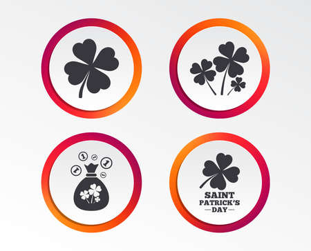 Saint Patrick day icons. Money bag with clovers and coins sign. Symbol of good luck. Infographic design buttons. Circle templates. Vector