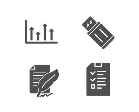 Set of Upper arrows, Feather signature and Usb flash icons. Interview sign. Growth infochart, Feedback, Memory stick. Checklist file.  Quality design elements. Classic style. Vector 일러스트