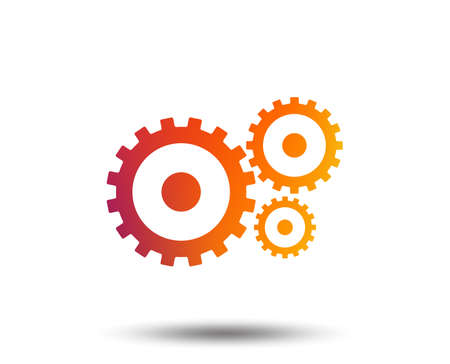 Cog settings sign icon. Cogwheel gear mechanism symbol. Blurred gradient design element. Vivid graphic flat icon. Vector