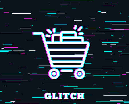 Glitch effect. Shopping cart line icon. Sale Marketing symbol. Special offer sign. Background with colored lines. Vector Illustration