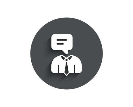Human talking simple icon. Conversation sign. Communication speech bubble symbol. Circle flat button with shadow. Vector