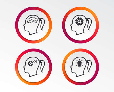 Head with brain and idea lamp bulb icons. Female woman think symbols. Cogwheel gears signs. Infographic design buttons. Circle templates. Vector