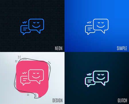 Glitch, Neon effect. Message speech bubbles with Smile line icon. Chat emotion sign. Trendy flat geometric designs. Vector