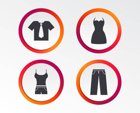 Clothes icons. T-shirt with business tie and pants signs. Women dress symbol. Infographic design buttons. Circle templates. Vector