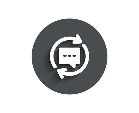 Update Comments simple icon. Chat Speech bubble sign. Communication symbol. Circle flat button with shadow. Vector