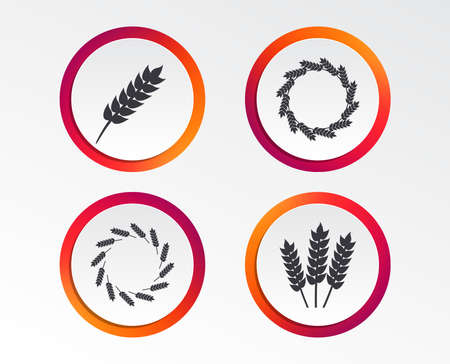 Agricultural icons. Gluten free or No gluten signs. Wreath of Wheat corn symbol. Infographic design buttons. Circle templates. Vector Çizim