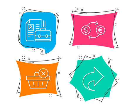 Set of Delete purchase, Currency exchange and Vacancy icons. Share sign. Remove from basket, Banking finance, Hiring job. Link.  Flat geometric colored tags. Vivid banners. Trendy graphic design