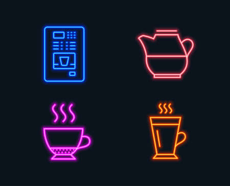 Neon lights. Set of Milk jug, Coffee vending and Espresso icons. Latte sign. Fresh drink, Coffee vending machine, Hot drink. Tea glass mug.  Glowing graphic designs. Vector