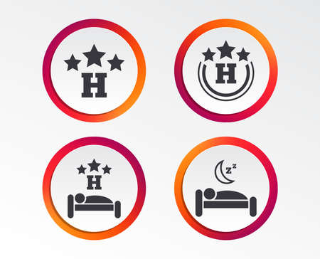 Three stars hotel icons. Travel rest place symbols. Human sleep in bed sign. Infographic design buttons. Circle templates.
