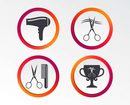 Hairdresser icons. Scissors cut hair symbol. Comb hair with hairdryer symbol. Barbershop winner award cup. Infographic design buttons. Circle templates.