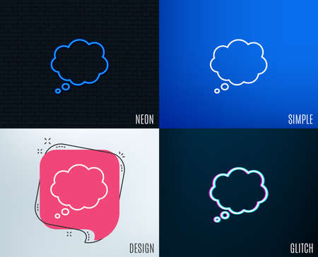 Glitch, Neon effect. Comic Speech bubble line icon. Chat sign. Communication or Comment symbol. Trendy flat geometric designs.