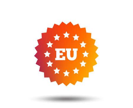 European union icon. EU stars symbol. Blurred gradient design element. Vivid graphic flat icon.