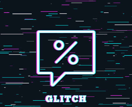 Glitch effect. Shopping speech bubble line icon. Special offer chat sign. Sale with Discounts symbol. Background with colored lines. Illustration