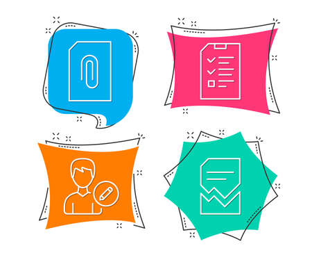 Set of Edit person, Attachment and Interview icons. Corrupted file sign. Change user info, Attach document, Checklist file. Damaged document.  Flat geometric colored tags. Vivid banners. Vector Illustration
