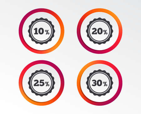 Sale discount icons. Special offer stamp price signs. 10, 20, 25 and 30 percent off reduction symbols. Infographic design buttons. Circle templates. Banque d'images - 100724337