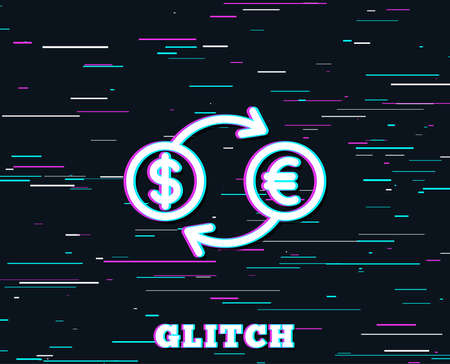 Glitch effect. Money exchange line icon. Banking currency sign. Euro and Dollar Cash transfer symbol. Background with colored lines. Stockfoto - 100724342