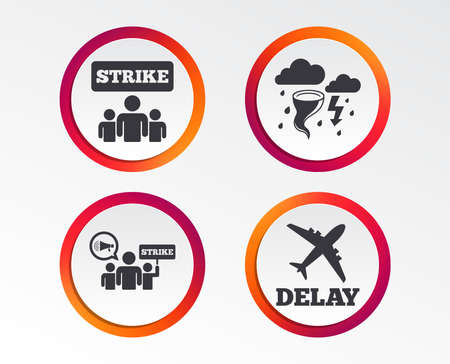 Strike icon. Storm bad weather and group of people signs. Delayed flight symbol. Infographic design buttons. Circle templates. Ilustracja