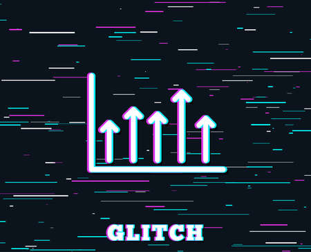 Glitch effect. Growth chart line icon. Financial graph sign. Upper Arrows symbol. Business investment. Background with colored lines.