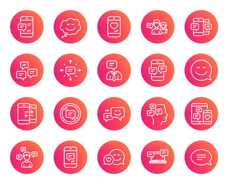 Message and Communication icons. Group chat, Conversation and Speech bubbles signs. SMS, Phone alert and Stop talking symbols. Trendy gradient circle buttons. Quality design elements.