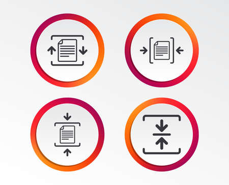 Archive file icons. Compressed zipped document signs. Data compression symbols. Infographic design buttons. Circle templates.