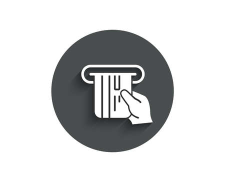 Credit card simple icon. Hold Banking Payment card sign. ATM service symbol. Circle flat button with shadow.