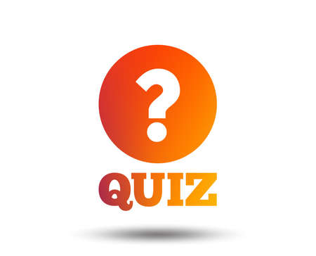 Quiz with question mark sign icon. Questions and answers game symbol. Blurred gradient design element. Vivid graphic flat icon.