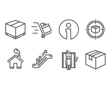 Set of Delivery box, Elevator and Parcel tracking icons. Escalator, Push cart and Parcel signs. Cargo package, Lift, Box in target. Elevator, Express delivery.  Information and Home design elements