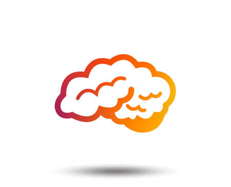 Brain with cerebellum sign icon. Human intelligent smart mind. Blurred gradient design element. Vivid graphic flat icon. Illustration