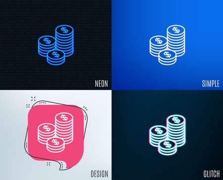 Glitch, Neon effect. Coins money line icon. Banking currency sign. Cash symbol. Trendy flat geometric designs.