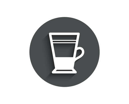 Double Latte coffee icon. Hot drink sign. Beverage symbol. Circle flat button with shadow. Vector