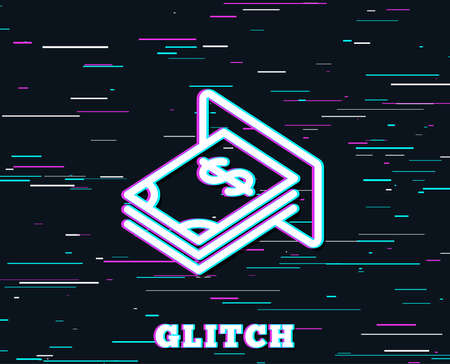 Glitch effect. Cash money line icon. Banking currency sign. Dollar or USD symbol. Background with colored lines.