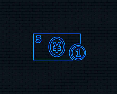 Neon light. Cash sign icon. Yen Money symbol. JPY Coin and paper money. Glowing graphic design. Brick wall. 向量圖像