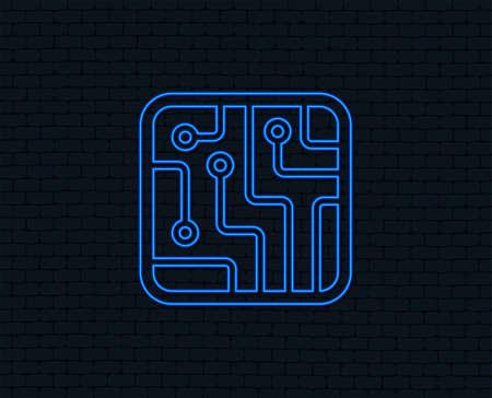 Neon light. Circuit board sign icon. Technology scheme square symbol. Glowing graphic design. Brick wall.