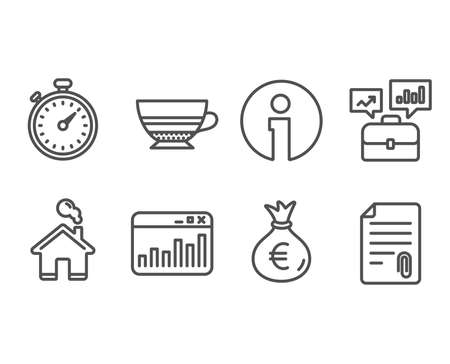 Set of Business portfolio, Money bag and Marketing statistics icons. Mocha, Timer and Attachment signs. Job interview, Euro currency, Web analytics. Coffee cup, Stopwatch gadget, Attach file. Çizim