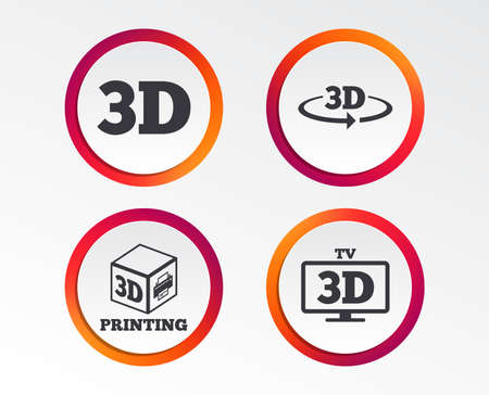 3d technology icons. Printer, rotation arrow sign symbols. Print cube. Infographic design buttons. Circle templates.