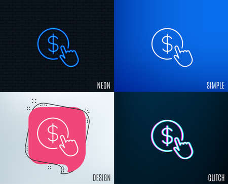 Glitch, Neon effect. Hand Click line icon. Currency exchange sign. Cursor pointer symbol. To pay or get money. Trendy flat geometric designs.