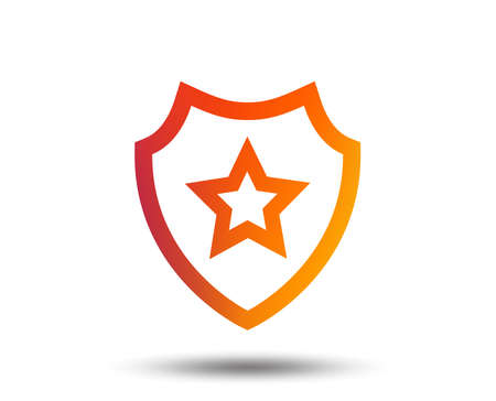 Shield with star icon. Favorite protection symbol. Blurred gradient design element. Vivid graphic flat icon.