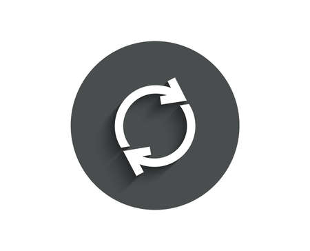 Refresh simple icon. Rotation arrow sign. Reset or Reload symbol. Circle flat button with shadow.