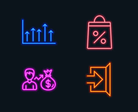 Neon lights. Set of Shopping bag, Sallary and Growth chart icons. Exit sign. Supermarket discounts, Person earnings, Upper arrows. Escape. Glowing graphic designs.