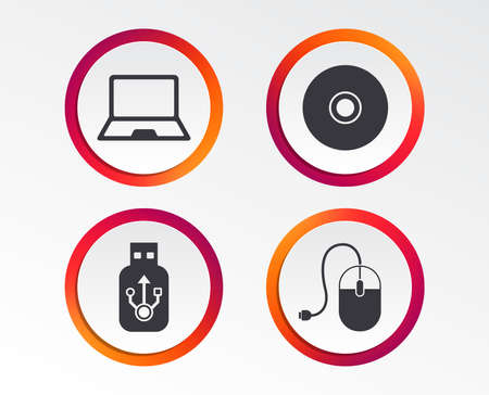 Notebook pc and Usb flash drive stick icons. Computer mouse and CD or DVD sign symbols. Infographic design buttons. Circle templates. Archivio Fotografico - 100724464