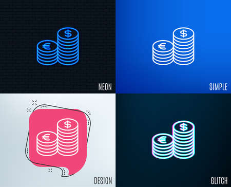 Glitch, Neon effect. Coins money line icon. Banking currency sign. Euro and Dollar Cash symbols. Trendy flat geometric designs.
