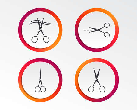 Scissors icons. Hairdresser or barbershop symbol. Scissors cut hair. Cut dash dotted line. Tailor symbol. Infographic design buttons. Circle templates.