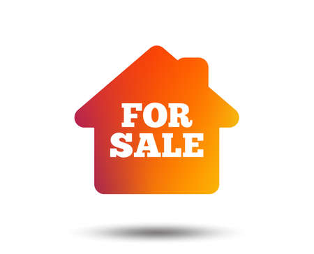 For sale sign icon. Real estate selling. Blurred gradient design element. Vivid graphic flat icon.