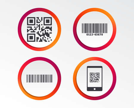 Bar and Qr code icons. Scan barcode in smartphone symbols. Infographic design buttons. Circle templates. Illustration