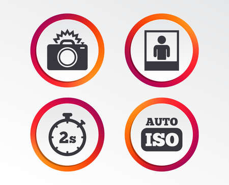 Photo camera icon. Flash light and Auto ISO symbols. Stopwatch timer 2 seconds sign. Human portrait photo frame. Infographic design buttons. Circle templates.